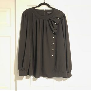 NWT ELOQUII blouse black and pearl accents size 24
